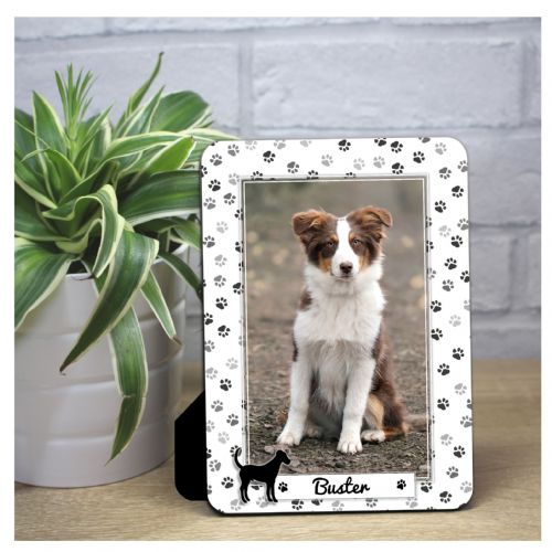 Personalised Dog Paw Print Wood Photo Panel F70